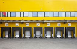 Truck loading docks stock photography