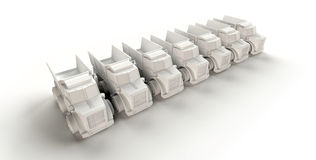 Seven trucks. Computer generated row of trucks on white background Stock Photography
