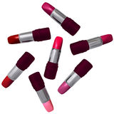 Seven tubes of lipstick. Stock Photography