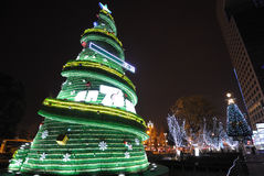 Seven Up bottle Christmas tree at night Royalty Free Stock Photos