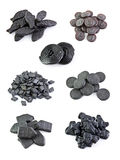 Seven variants licorice sweets. On the white backgrounds Stock Photo