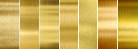 Seven various brushed gold metal textures set royalty free stock photo