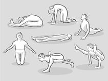 Seven Various Easy and Intermediate Yoga Poses Stock Photography