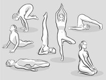 Seven Various Halftone Yoga Poses Royalty Free Stock Photo