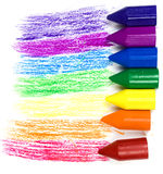 Seven wax crayons Royalty Free Stock Photo