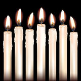 Seven White Candles Royalty Free Stock Photo