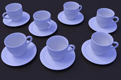 Seven white coffee cups with saucer on a dark reflective surface. 3D rendering of white coffee cups with saucer on a dark reflective surface Royalty Free Stock Photos