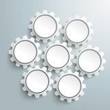 Seven White Gears PiAd Royalty Free Stock Image