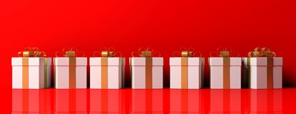 White gift boxes with golden ribbon on red background. 3d illustration. Seven white gift boxes with golden ribbons. Red background for copy space. Beautiful Royalty Free Stock Images