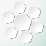 Seven White Paper Hexagon Labels Stock Photo
