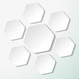 Seven White Paper Hexagon Labels Stock Photo
