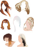 Seven woman hairstyles Royalty Free Stock Images