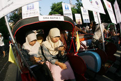 Seven wonder cities. Citizens to vote through the cities of the seven wonder of social media in Solo, Central Java, Indonesia Stock Photos