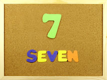 Seven word on a corkboard Royalty Free Stock Photo