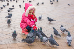 Seven-year girl in wiinter feeding pigeons in the street Stock Image