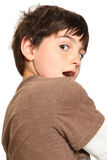 Seven Year Old Looking Over Shoulder Stock Photos