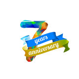 7 seven years anniversary. Vector triangular digits Stock Illustration