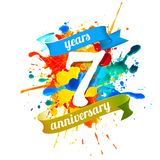 7 years anniversary. Splash paint. Seven years anniversary. Vector watercolor splash paint Vector Illustration