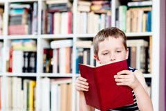 Seven years old boy reading a book in library. stock photo
