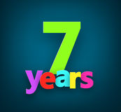 Seven years paper sign. Stock Images