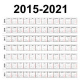 Seven years vector calendars. Vector calendars. 2015 2016 2017 2018 2019 2020 2021 years Stock Image