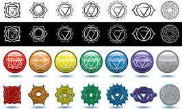 The seven yoga chakras Stock Photos