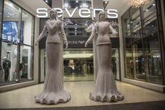 The Sevens shopping mall in Dusseldorff. The SEVENS Home of Saturn is a shopping mall on Düsseldorf`s Königsallee, one of the most exclusive shopping streets Royalty Free Stock Photo