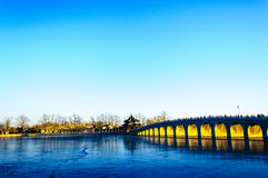 Seventeen-Arch Bridge glow. Photographed in Beijing Royalty Free Stock Photography