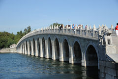 Seventeen-arch bridge in summer palace Stock Image