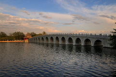Seventeen Arch Bridge in Summer Palace. In the sunset Royalty Free Stock Photos