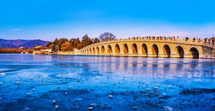 Seventeen Arch Bridge in Summer Palace Royalty Free Stock Images