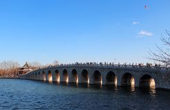 Seventeen Arches Bridge in the Summer Palace, Beijing. The view of Seventeen Arches Bridge in the Summer Palace, Beijing, China. China`s existing largest and Stock Photography