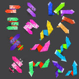 Seventeen color textured arrows Royalty Free Stock Photography