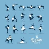 Seventeen dance silhouettes vector Stock Image