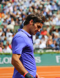 Seventeen times Grand Slam champion Roger Federer in action during his  third round match at Roland Garros 2015 Royalty Free Stock Image
