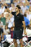 Seventeen times Grand Slam champion Roger Federer celebrates victory after round 4 match at US Open 2014 Royalty Free Stock Images