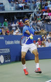 Seventeen times Grand Slam champion Roger Federer during his fourth round match at US Open 2013 against Tommy Robredo Stock Photo