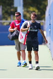 Seventeen times Grand Slam champion Roger Federer after practice for US Open 2014 Royalty Free Stock Photography