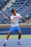 Seventeen times Grand Slam champion Roger Federer practices for US Open 2014 Stock Photo