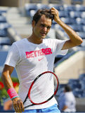 Seventeen times Grand Slam champion Roger Federer practices for US Open 2014 Royalty Free Stock Image