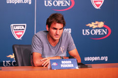 Seventeen times Grand Slam champion Roger Federer during press conference at Billie Jean King National Tennis Center Royalty Free Stock Image