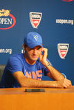 Seventeen times Grand Slam champion Roger Federer during press conference after he lost semifinal match at US Open 2014 Stock Images