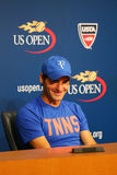Seventeen times Grand Slam champion Roger Federer during press conference after he lost semifinal match at US Open 2014 Stock Photography