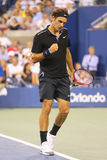 Seventeen times Grand Slam champion Roger Federer during round 4 match at US Open 2014 Stock Photography