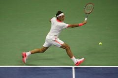 Seventeen times Grand Slam champion Roger Federer of Switzerland in action during his match at US Open 2015 Stock Images