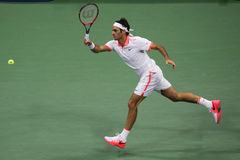 Seventeen times Grand Slam champion Roger Federer of Switzerland in action during his match at US Open 2015 Royalty Free Stock Images