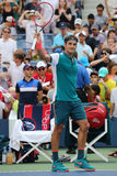 Seventeen times Grand Slam champion Roger Federer of Switzerland celebrates victory after first round US Open 2015 Stock Images