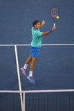 Seventeen times Grand Slam champion Roger Federer  during third round match at US Open 2014 Royalty Free Stock Photos