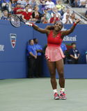 Seventeen times Grand Slam champion Serena Williams during her final match at US Open 2013 against Victoria Azarenka Royalty Free Stock Photos