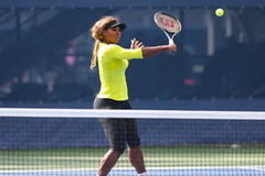 Seventeen times Grand Slam champion Serena Williams practices for US Open 2014 at Billie Jean King National Tennis Center Royalty Free Stock Photo